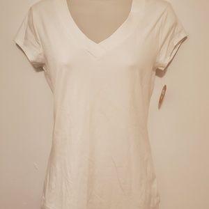 NWT women's SO white top size large v neck